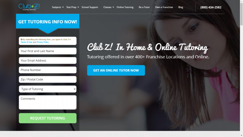clubztutoring.com available for online professional tutors for college